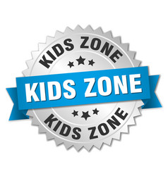 Kids zone round isolated silver badge vector