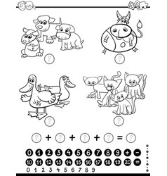 mathematical game coloring page vector image vector image