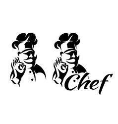 Monochrome with chef for menu vector