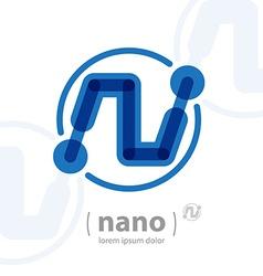 Nano technology logo template Future hi-tech icon vector image