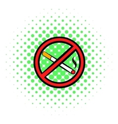 No smoking sign icon comics style vector image
