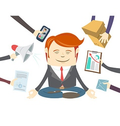 Office man meditating in the middle of busy vector image vector image