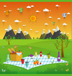outdoor picnic in mountains vector image