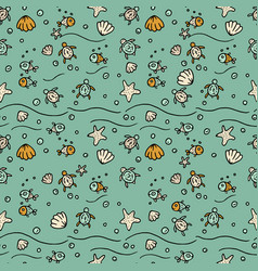 Sea seamless pattern with handdrawn vector