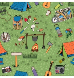 Seamless camping background pattern vector