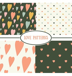 Set of retro love patterns Seamless background vector image