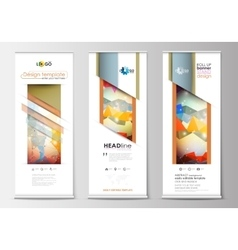 Set of roll up banner stands flat templates vector