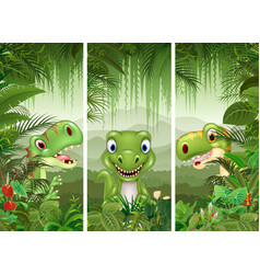 set of three cartoon dinosaur vector image