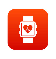 smartwatch icon digital red vector image