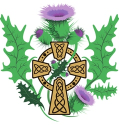 Stylized celtic cross framed thistle flowers vector