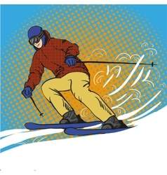 Man skier skiing in mountains vector