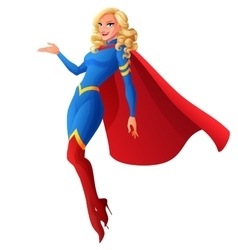 Beautiful sexy blond superhero woman flying and vector