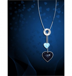 crystal heart necklace vector image