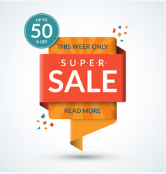 Super sale banner discount label vector