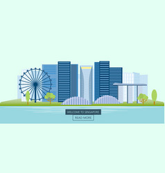 Banner horizontal of singapore panoramic view of vector