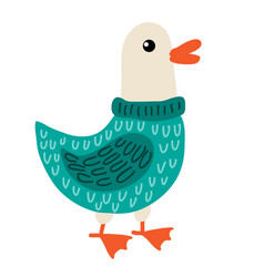 cute cartoon goose vector image