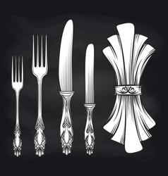 Cutlery and doily sketch chalkboard poster vector