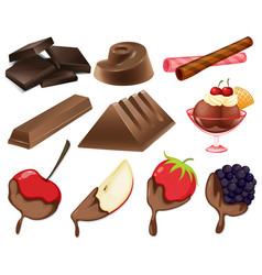 Different styles of chocolate dessert vector