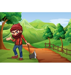 A woodman holding an axe at the pathway near the vector