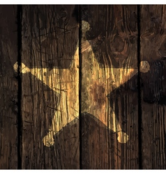 Grungy sheriff star on wooden texture vector