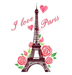 Red watercolor roses and eiffel tower vector