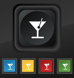Cocktail icon symbol set of five colorful stylish vector