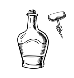 Sketch of whiskey with corkscrew vector