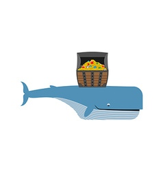 Sperm whale and pirate treasure blue whale and vector