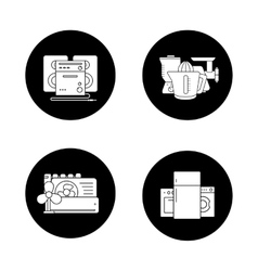 Household appliances black icons set vector