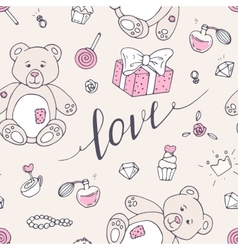 Valentine day seamless pattern with teddy bear vector