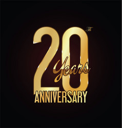 anniversary golden sign 20 years vector image vector image