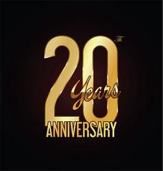 Anniversary golden sign 20 years vector
