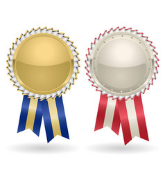 Award rosette gold and silver vector