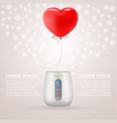 baby bottle warmer with red baloon in shape of vector image vector image