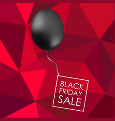 black balloon on red polygonal background with vector image vector image