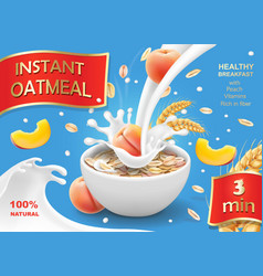 Bowl of oatmeal with peach oat flakes or muesli vector