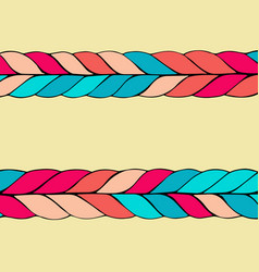 Braid hair pattern on yellow background vector