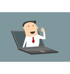 Businessman gesturing ok in laptop screen vector image vector image