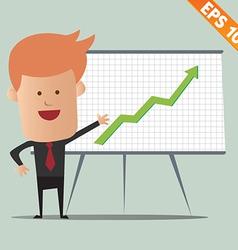 Cartoon business man present information - - vector