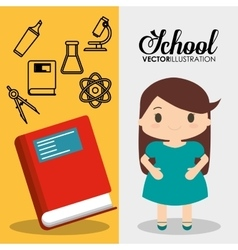 Cartoon school pupil girl red book flyier vector