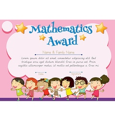 Certificate of mathematics award vector