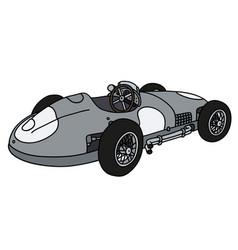 Classic silver racing car vector