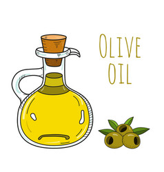 Colorful hand drawn olive oil bottle vector