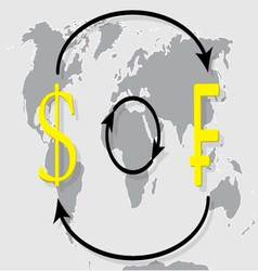 Currency exchange franc dollar on world map backgr vector