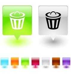 Dustbin square button vector image