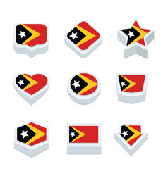 East timor flags icons and button set nine styles vector
