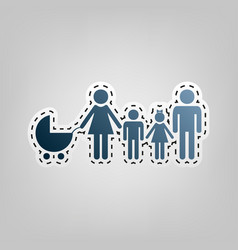 Family sign blue icon with vector