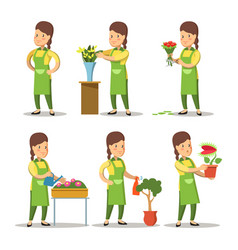 Female florist cartoon set woman gardening vector