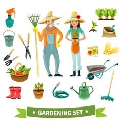 Gardening Cartoon Set vector image vector image