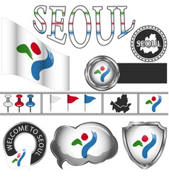 glossy icons with flag of seoul vector image vector image